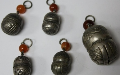 LOT OF (5) CHINESE SILVER BELL ORNAMENTS