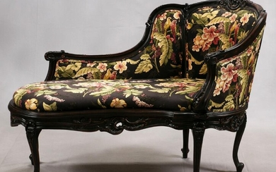 LOUIS XV STYLE CARVED WALNUT CHAISE LOUNGE