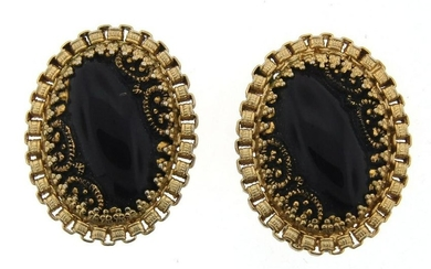 LOVELY Hobe Gold Plated & Onyx Clip On Earrings Circa