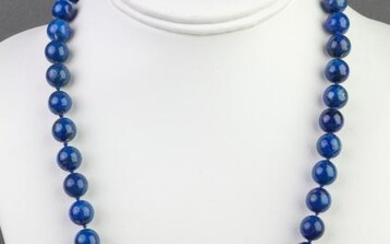 Lapis Lazuli Beaded Necklace with Gold-Tone Clasp