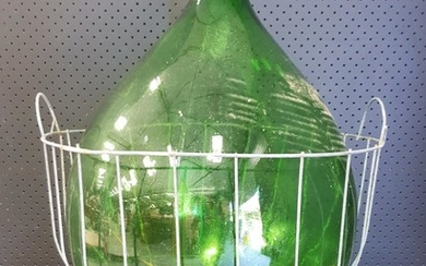 Large Green Glass Bottle in Wire Basket (H: 73 x D: 42cm)
