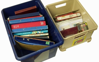 Large all world stamp collection in two cartons with 20 albums or stockbooks, stamps in packets and loose plus two small binders of miniature sheets.