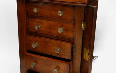 Late Regency Miniature Brass-Mounted Rosewood Lockside Wellington Chest of Drawers