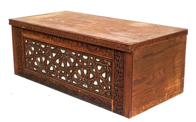 Lockwood De Forest Teak Carved and Inlaid Chest