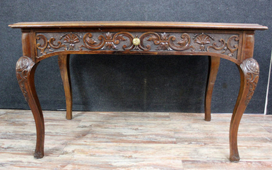 Louis XV desk with a Havana leather worktop - Walnut - mid 19th century