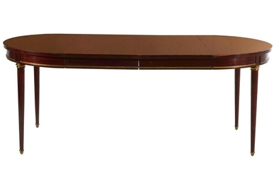Louis XVI style brass-mounted mahogany dining table
