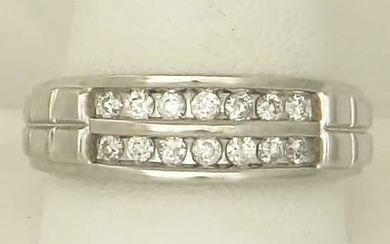MENS14k WHITE GOLD DOUBLE ROW 3/4ct ROUND DIAMOND