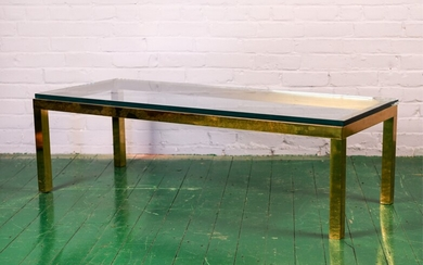 MID-CENTURY BRASS & GLASS COCKTAIL COFFEE TABLE