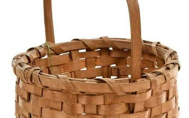 Miniature Oak Split Basket with Carved Handle