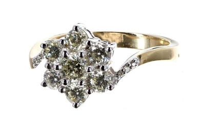 Modern 18ct yellow gold seven stone diamond daisy cluster ring,...