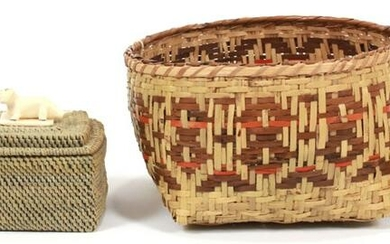 NATIVE AMERICAN INDIAN WOVEN BASKETS AND BOX