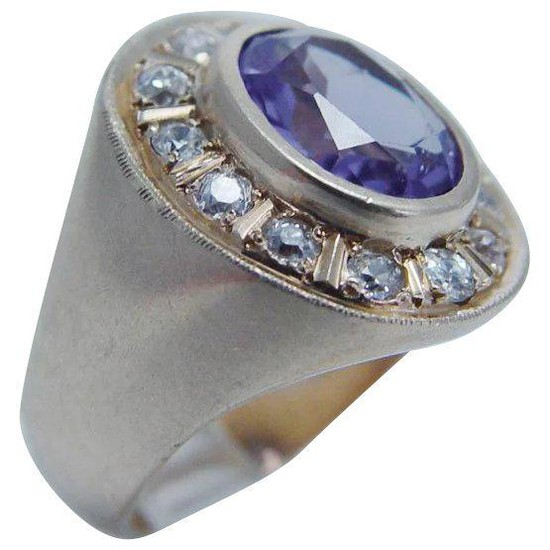 Natural Purple Amethyst Diamond Ring 14K Yellow Gold