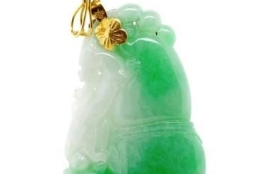 Oriental carved jade pendant or dragon and gourd form marked...