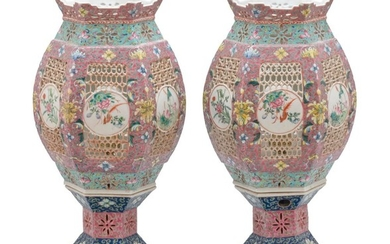 "PAIR OF CHINESE PORCELAIN MARRIAGE LAMPS Hexagonal, with bird and flower cartouches set on latticework panels. Heights 15.5"". Electr..."