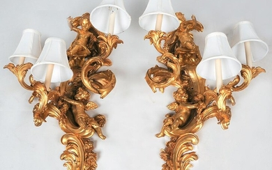 PAIR OF FRENCH GILT BRONZE FIGURAL SCONCES