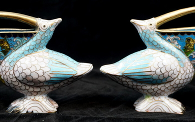 2 CHINESE CLOISONNE PELICAN S