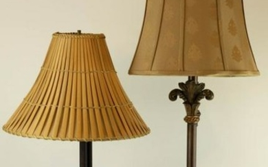 Pair Lamps Wrought Iron Bamboo Shade, Rococo Style
