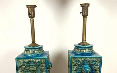 Pair Large UGO ZACCAGNINI Pottery Table Lamps. Italian