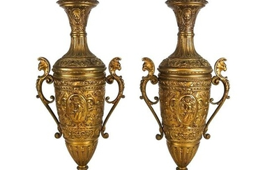 Pair Relief Decorated Brass Vases