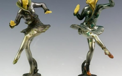 Pair Vintage Cast Metal & Enamel Harlequin Dancers