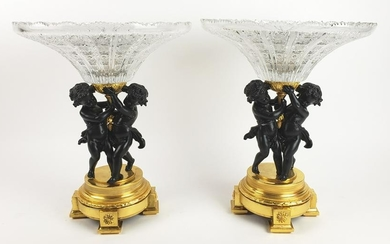 Pair of 19th C. Gilt & Patinated Bronze & Crystal