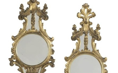 """Pair of French Giltwood """"Porthole"""" Mirrors"""