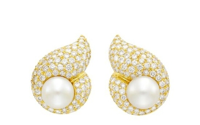 Pair of Gold, South Sea Cultured Pearl and Diamond Earclips