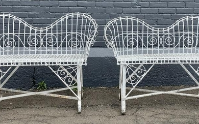 Pair of Victorian Wire Garden Settees