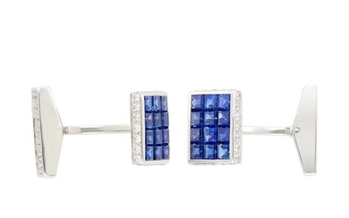 Pair of White Gold, Invisibly-Set Sapphire and Diamond Cufflinks