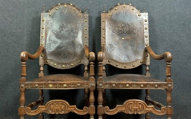 Pair of armchairs - Renaissance style - Wood, Natural wood and Cordoba leather - Mid 19th century