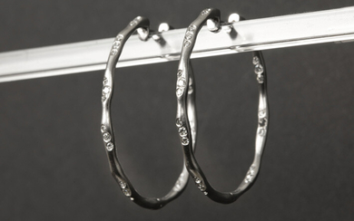 Pair of earrings with oval organic ring shape...