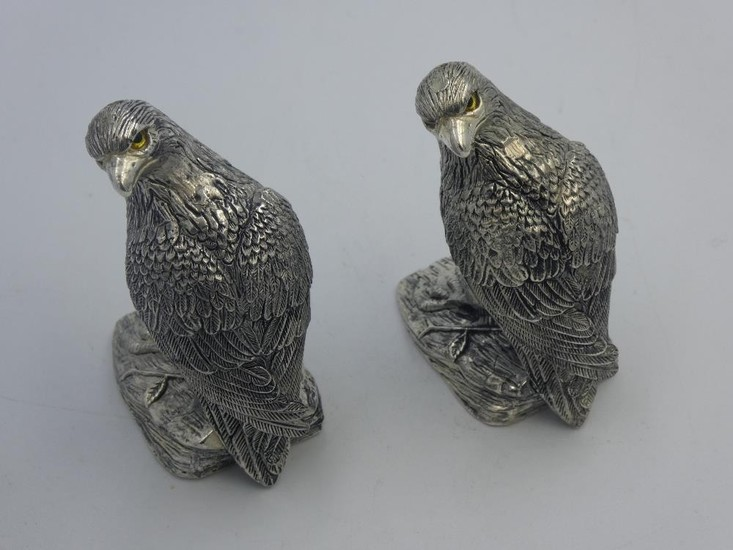 Pair of unusual silver plated condiments in the form of bird...