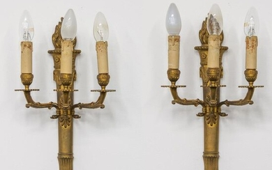 Pair of wall lamps, Louis XVI style with Flambeaux and...