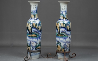 A pair of colossal Chinese vases. H. 180 cm. (2)