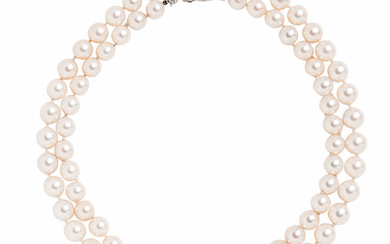 Platinum, Diamond and Cultured Pearl Necklace, Cartier
