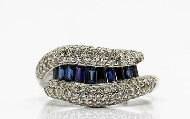 Platinum Diamonds & Sapphires Ring