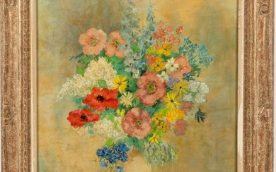 Polly Jennings (American, 20th C), Floral Still Life, Oil on Canvas EV1DL