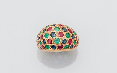 """Pretty yellow gold ring """" Boule """", 750 MM, covered with emeralds, sapphires and round rubies, nice way, nice colors, width 14 mm, height 7 mm, , size : 51, weight : 6,2gr. gross."""