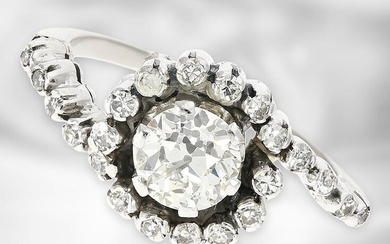 RIng: decorative vintage platinum ring with old-cut diamond of approx. 0,89ct