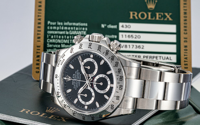 ROLEX. A FINE STAINLESS STEEL AUTOMATIC CHRONOGRAPH WRISTWATCH WITH BRACELET, SIGNED ROLEX, OYSTER PERPETUAL, COSMOGRAPH DAYTONA MODEL, REF. 116520, CASE NO. V817362, CIRCA 2010