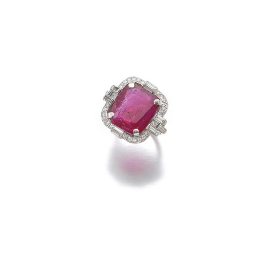 RUBY AND DIAMOND RING, 1930'S