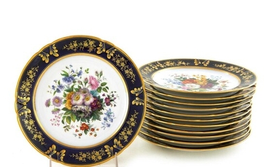 Rihouet Paris hand-painted botanical porcelain plates (11pcs)