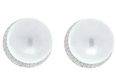 Round South Sea White Pearl and Diamond Earrings in 18