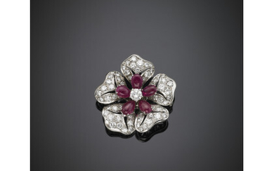 Round diamond and pear cabochon ruby white gold pansy brooch,...