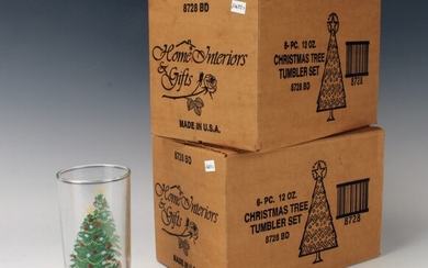 SET OF 12 CHRISTMAS TREE TUMBLERS GLASSES IN BOX