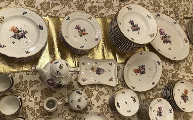 "NOT SOLD. ""Saxon Flower"" porcelain coffee and dinner service decorated in colours and gold with..."