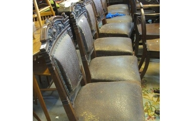 Set of nine early 20th Century oak dining chairs, carved wit...