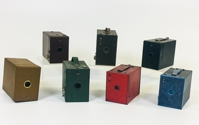"Seven Colorful Kodak Box Cameras, Rochester, New York, three Brownie cameras: two No. 2 model F and a 2A model C; and four ""Rainbow Haw"