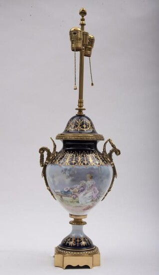 "Sevres style urn, now mounted as a table lamp 28"" to"