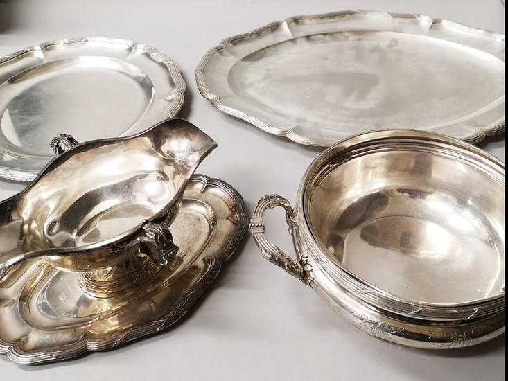 Silverware set consisting of 2 pairs of oval...